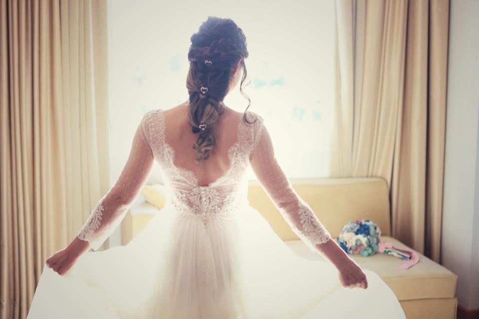 Vestido, peinado, blanco, celebrar boda