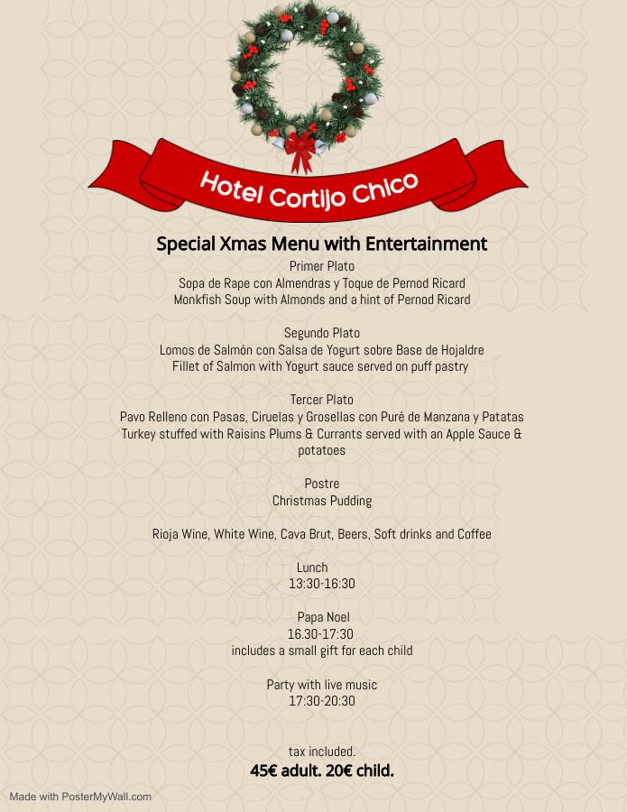 Menú Hotel Cortijo Chico Navidad 2020